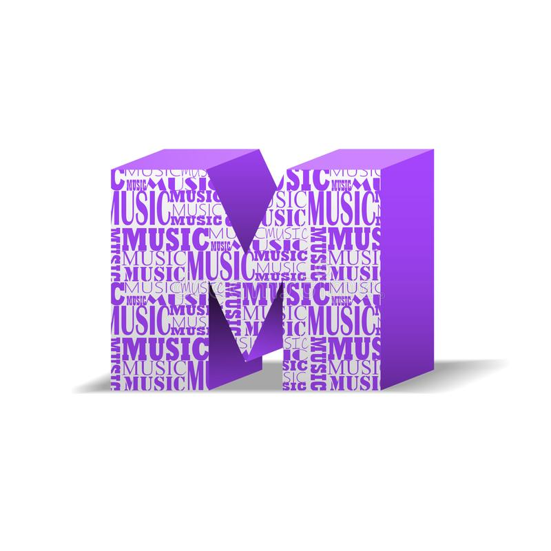 Music production. The letter M which depicts the word music in different fonts. Beautiful Music production. The letter M which depicts the word music in stock illustration