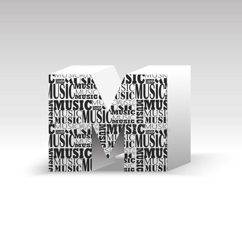 Music production. The letter M which depicts the word music in different fonts. Beautiful Music production. The letter M which depicts the word music in royalty free illustration
