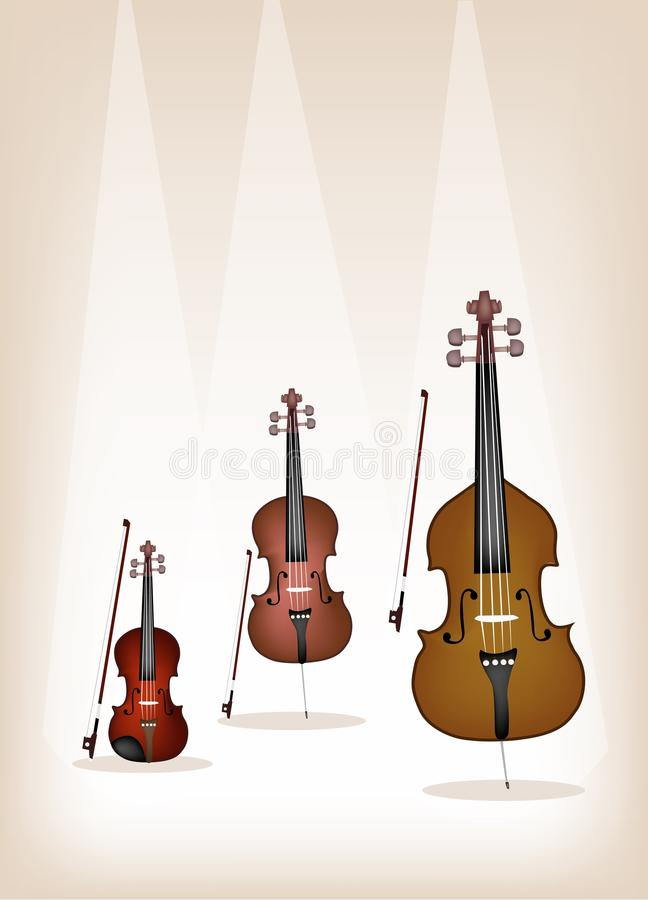 Beautiful Musical Instrument Strings on Brown Back. Musical Instrument String, An Illustration Collection of Beautiful Violin, Cello and Double Bass with Bows on stock illustration