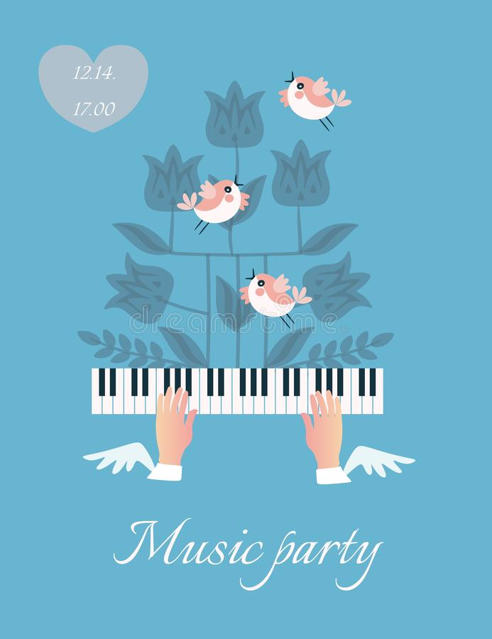 Beautiful musical poster with winged hands fluttering over piano keys, funny little birds and the silhouette of a flowering plant vector illustration
