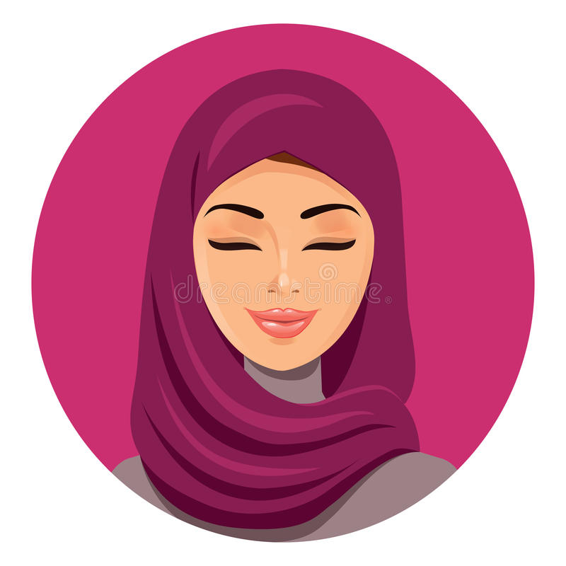 Beautiful muslim arab woman in hijab closing her eyes vector flat icon avatar. Beautiful face of arabic muslim woman. Portrait of vector illustration