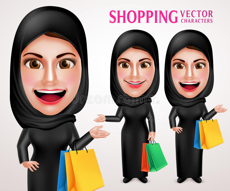 Beautiful muslim woman vector character set holding colorful shopping bags. Enjoy shopping wearing abaya or black dress in white background. Vector illustration stock illustration