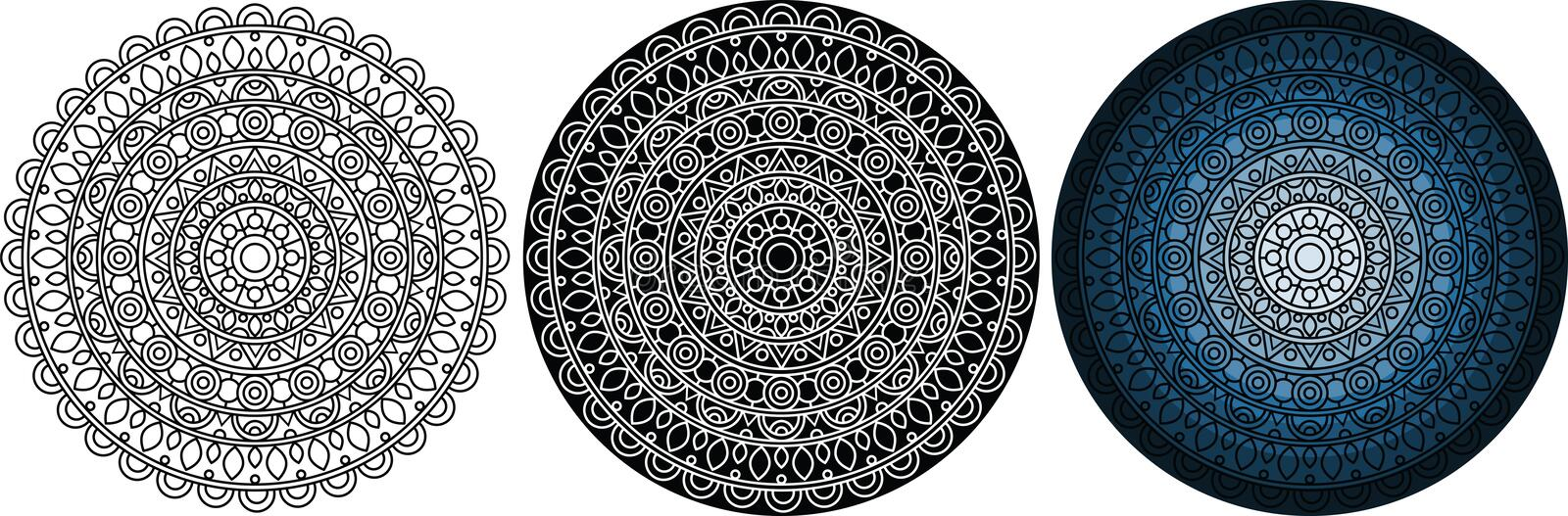 Beautiful and mysterious mandala for coloring book. Round pattern royalty free illustration