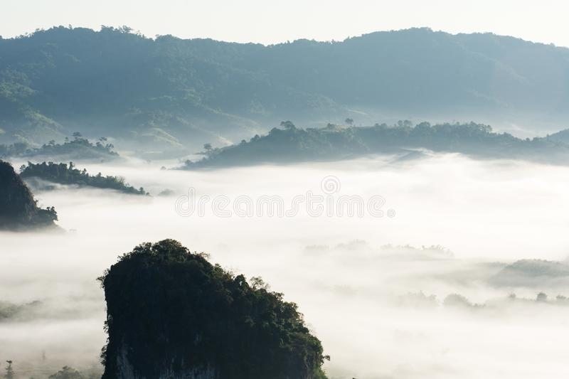 Mystic mist valley in Thailand stock image