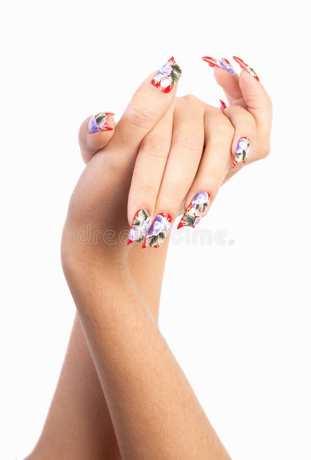 Beautiful nails. Two hands with beautiful nails unusual shape on white background royalty free stock photos