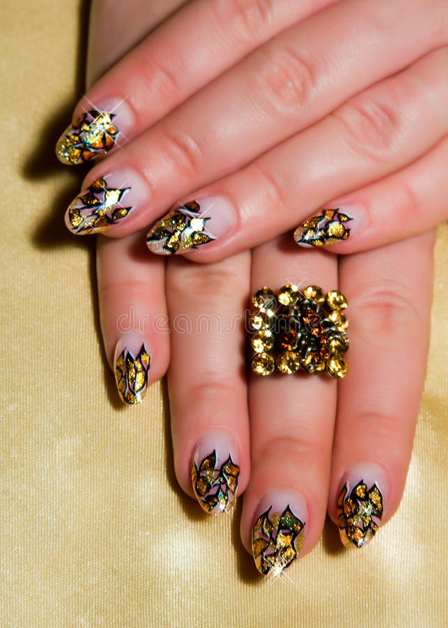 Beautiful Nails With Art Royalty Free Stock Images