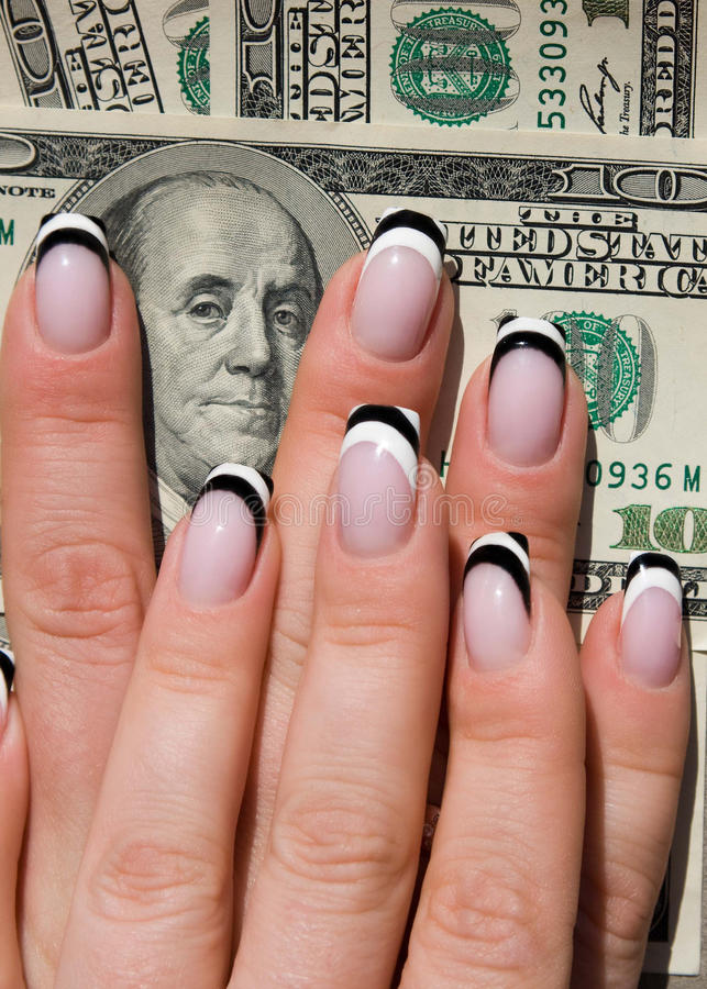 Beautiful Nails With Art On Money Stock Image Image Of Body
