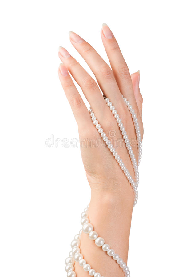 Beautiful nails and fingers stock photo