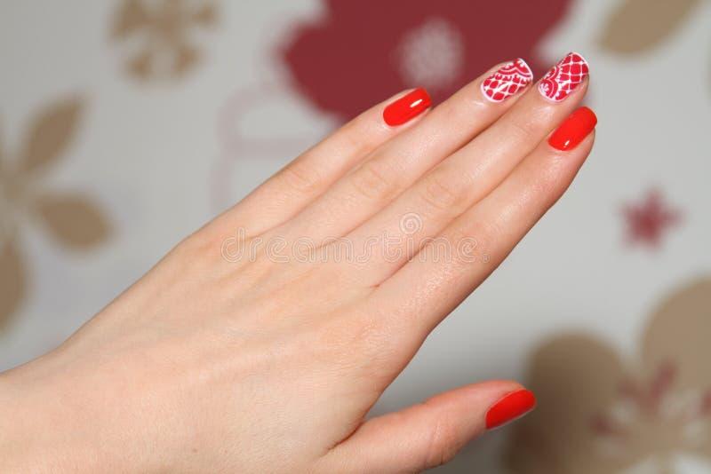 Beautiful nails of Young woman royalty free stock photos