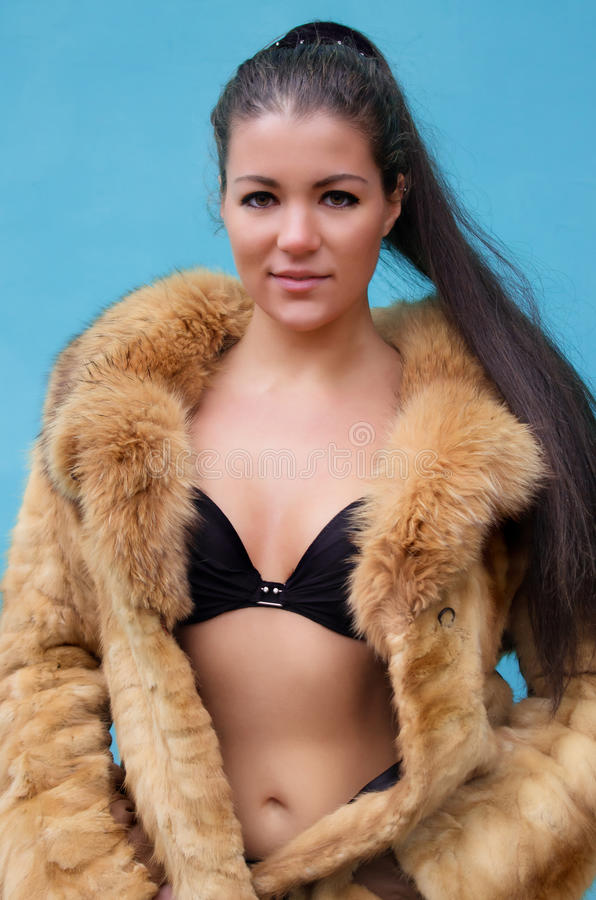 Download Beautiful Naked Woman In A Fur Coat Stock Image - Image: 27682465