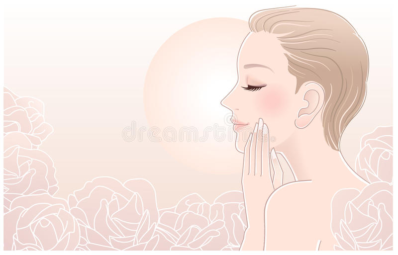 Download Beautiful Naked Woman Touching Her Face In Roses Stock Vector - Illustration: 27486084