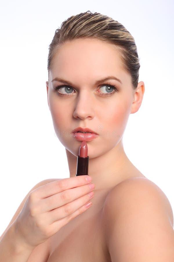Free Beautiful Naked Woman Using Red Lip Stick Make Up Stock Photos - 20443433