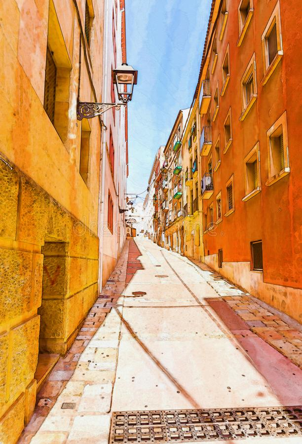 Beautiful narrow alley in the old town of spain, watercolor pain. Ted, illustration vector illustration