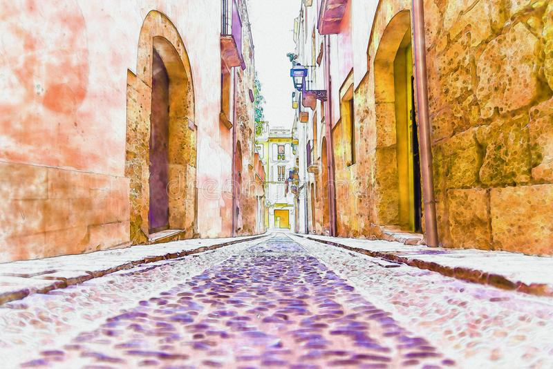 Beautiful narrow alley in the old town of spain, watercolor pain. Ted, illustration stock illustration