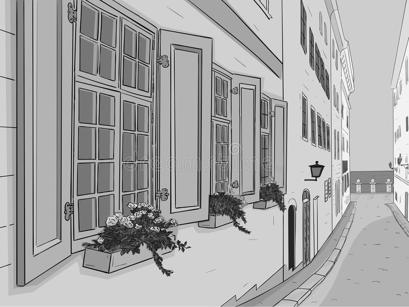 Beautiful narrow city street with flowers window boxes. Hand drawn sketch. Grayscale illustration stock illustration