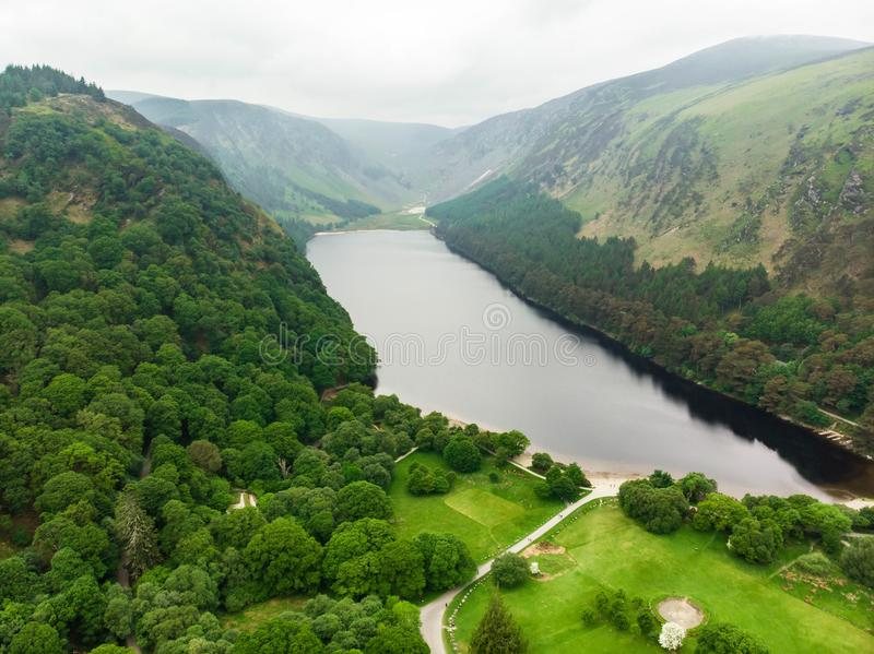 Beautiful narrow stream flowing across woodlands of Wicklow Mountains National Park. Old pine trees and lush greenery of Glendalou stock images