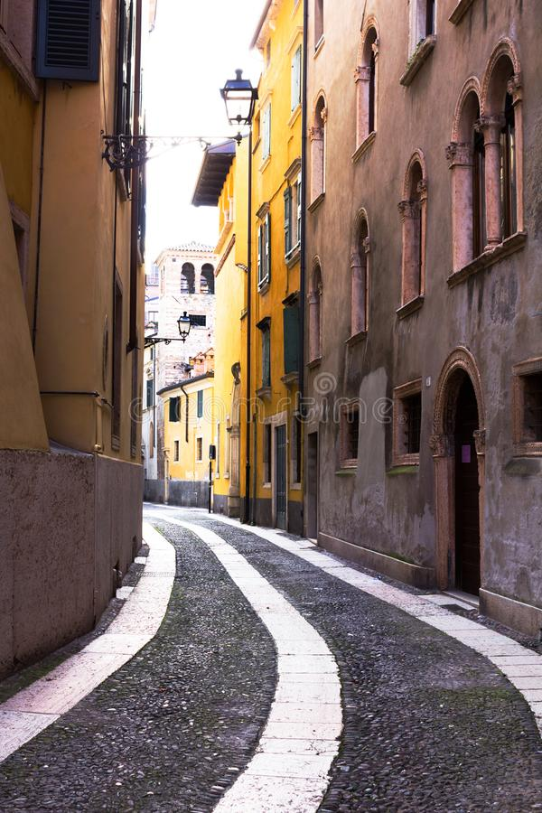Travel to Verona. Italy. Beautiful narrow street in Verona. Italy royalty free stock photos