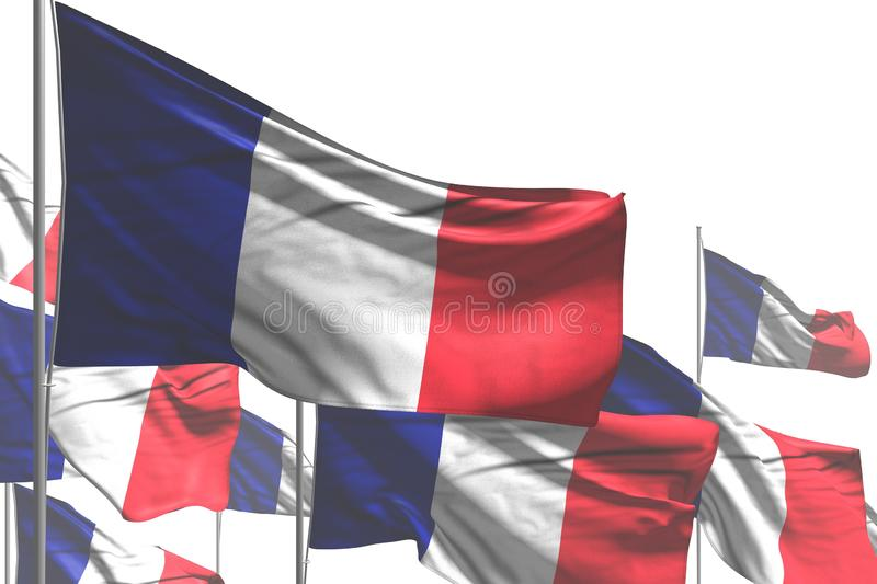 Beautiful national holiday flag 3d illustration - many France flags are wave isolated on white stock illustration