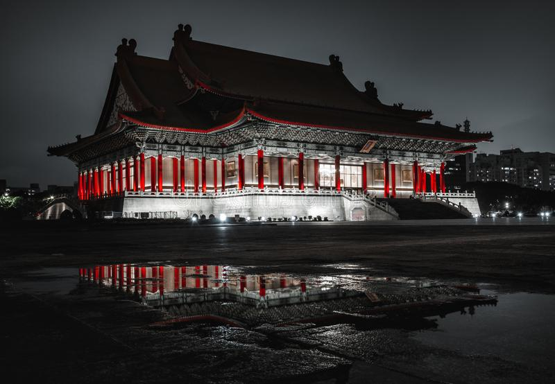 The beautiful National Theater in Liberty Square at night. Taipei, Taiwan stock image