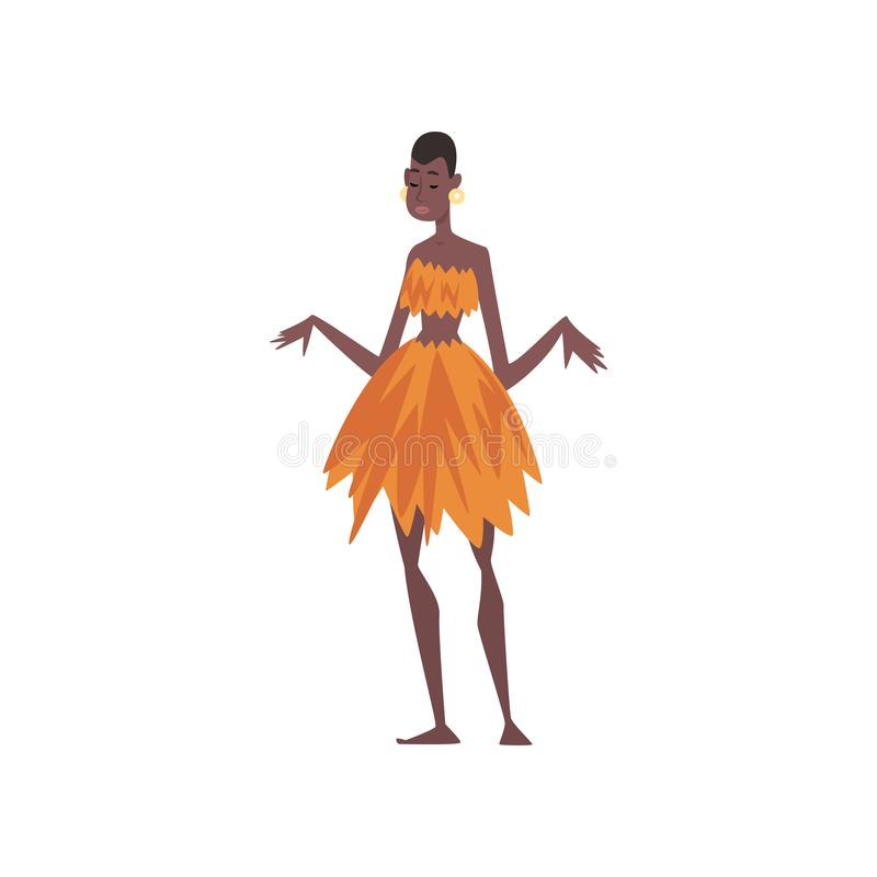 Beautiful Native Black Skinned Woman in Traditional Clothes, African or Australian Aborigine Cartoon Character Vector. Illustration on White Background vector illustration