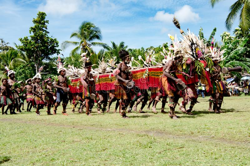 Native Dragon Dance Ceremony, Kopar Village, Sepik River, Papua New Guinea royalty free stock photography