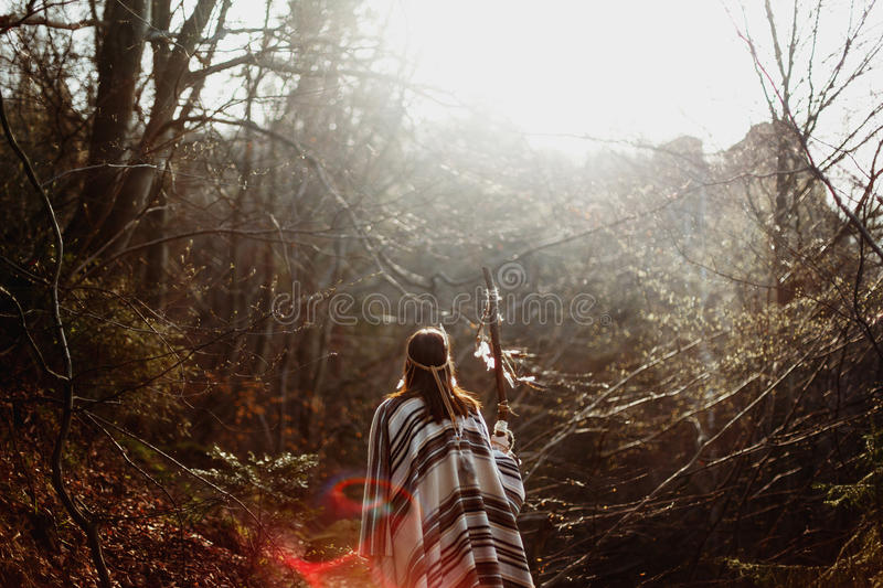 Beautiful native indian american woman walking on background of stock image