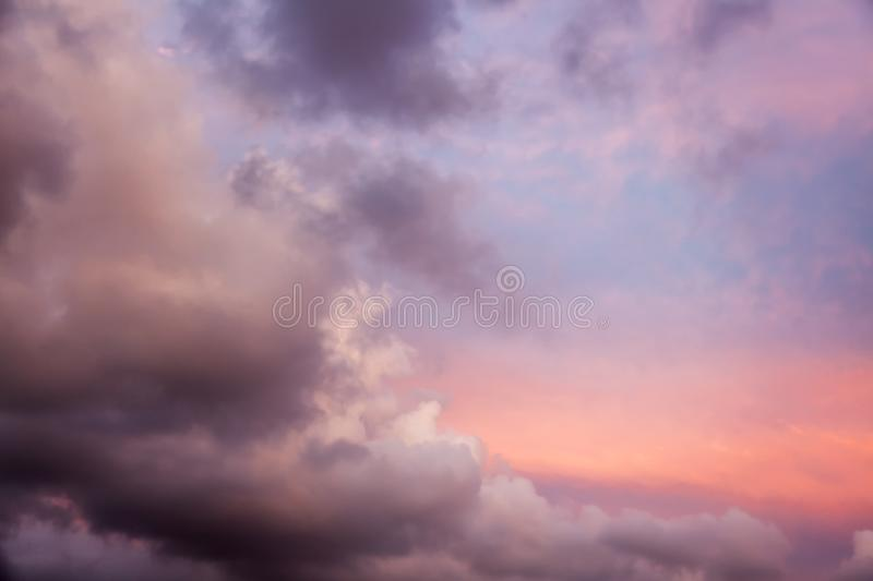 Beautiful natural background and texture, bright pink sunset sky stock photo