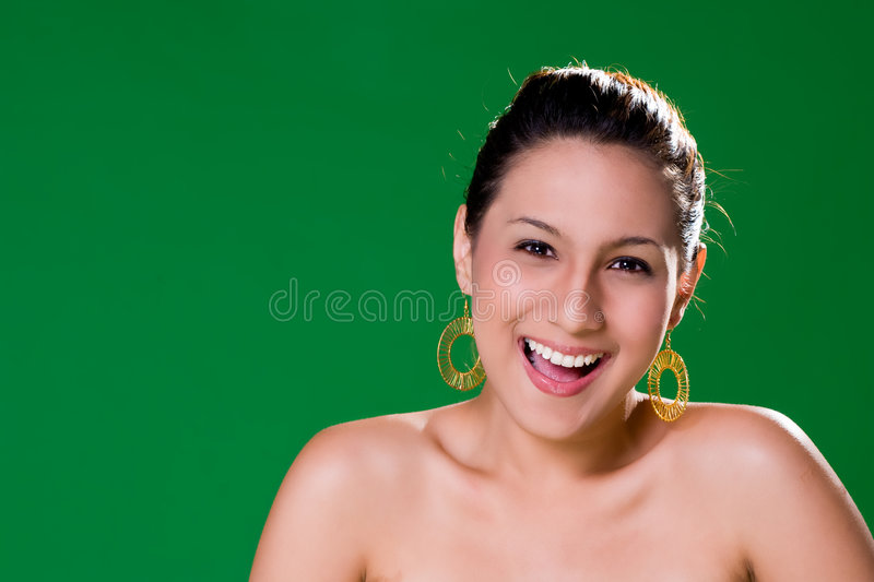 Beautiful natural big smile stock photos