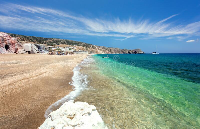 Beautiful natural colors of Firiplaka beach, Milos, Greece. Tourism destination in Mediterranean Sea royalty free stock images