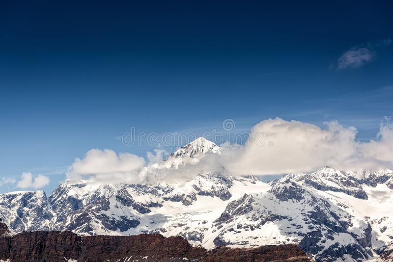 Beautiful Natural Landscape Scenery View of Mountain Swiss Alps at Zermatt, Switzerland. Nature Scenic Outdoor of Europe Mountains royalty free stock photography
