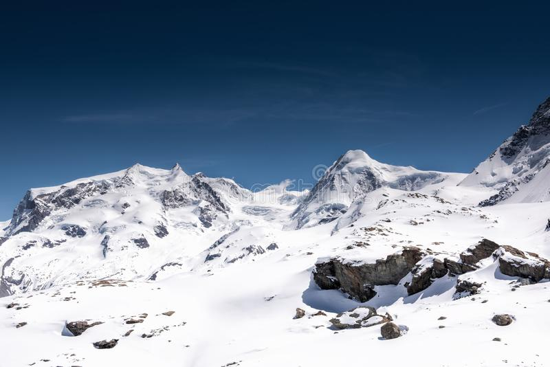 Beautiful Natural Landscape Scenery View of Mountains Swiss Alps at Zermatt, Switzerland. Nature Scenic Outdoors of Europe royalty free stock photography