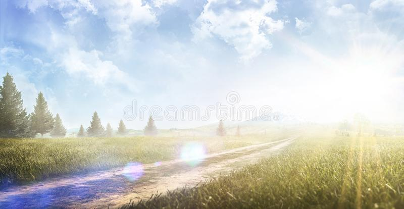 Beautiful natural landscape in the summertime. Mountain valley during sunrise. Forest stock photography