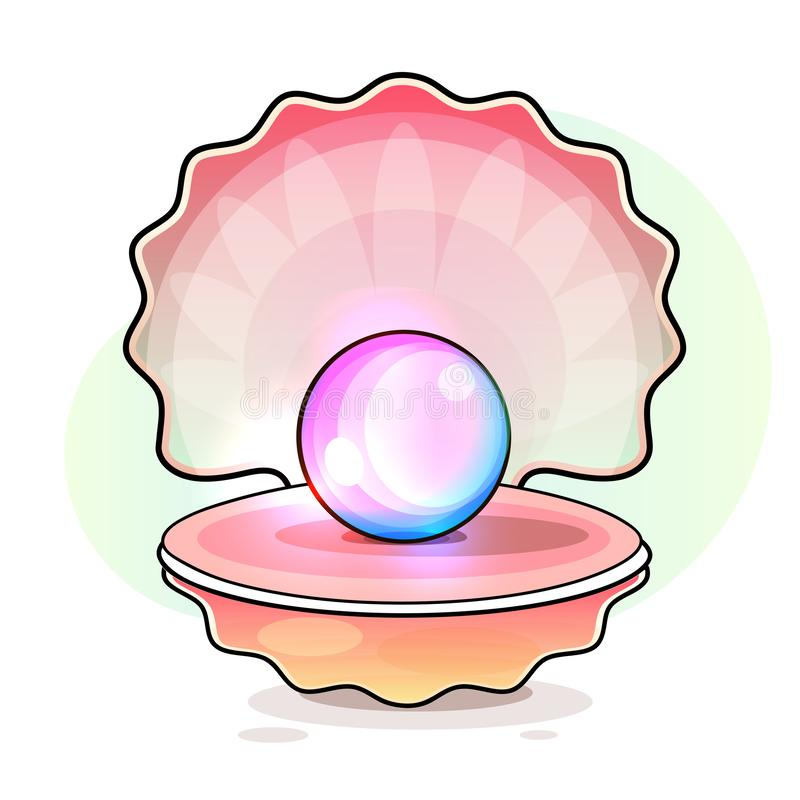 Beautiful Natural Open Pearl Shell Close Up Realistic Single Valuable Object Image Vector. Illustration vector illustration