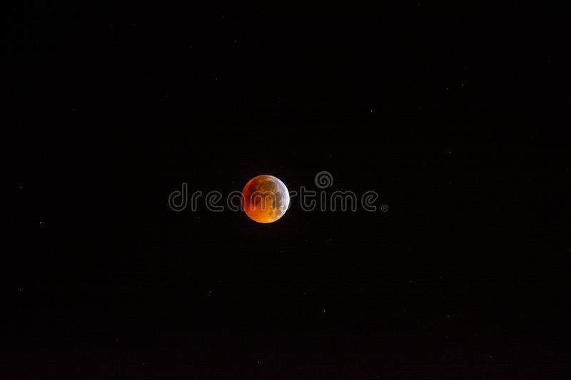 Beautiful natural phenomenon, lunar eclipse and super moon stock image