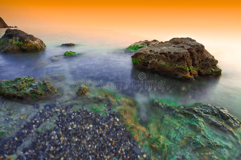 Beautiful natural seascape at long exposure. royalty free stock photo