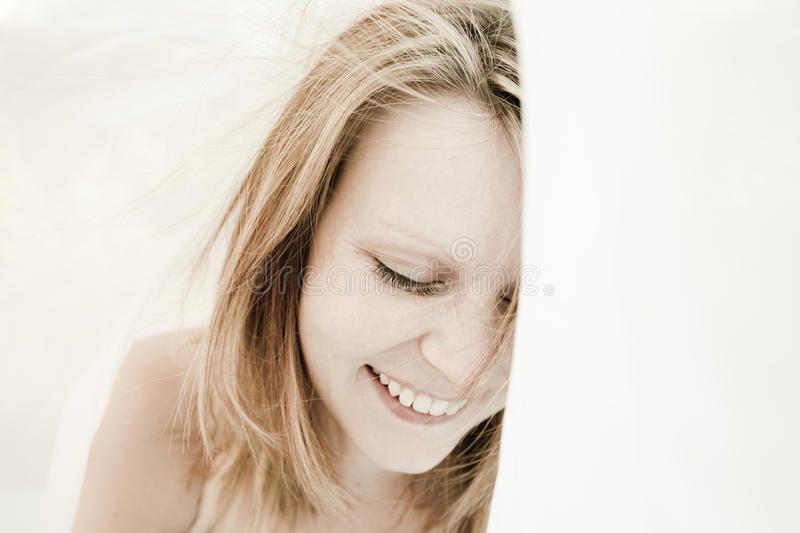 Beautiful, natural woman portrait. Beautiful, natural woman with blonde hair royalty free stock photography