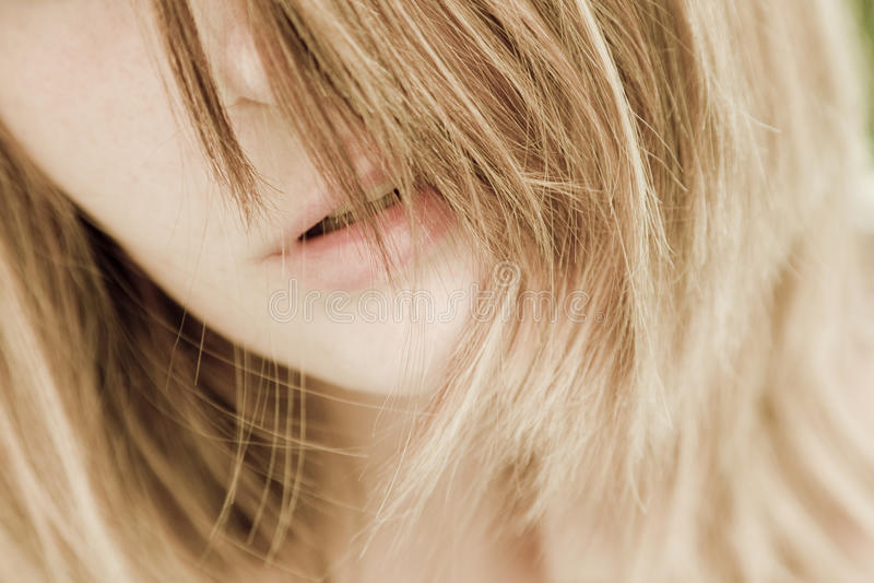Beautiful, natural woman portrait. Beautiful, natural woman with blonde hair royalty free stock photos