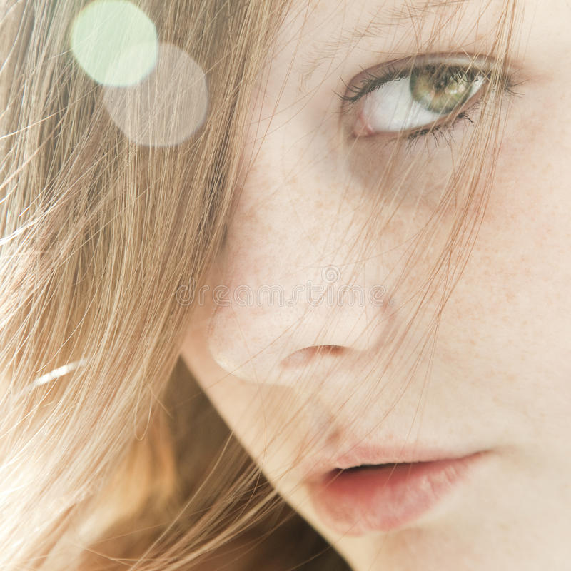 Beautiful, natural woman portrait. Close up royalty free stock images