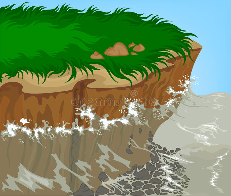 Beautiful nature. Sea waves along its banks. And the erosion of soil and rock in the water stock illustration