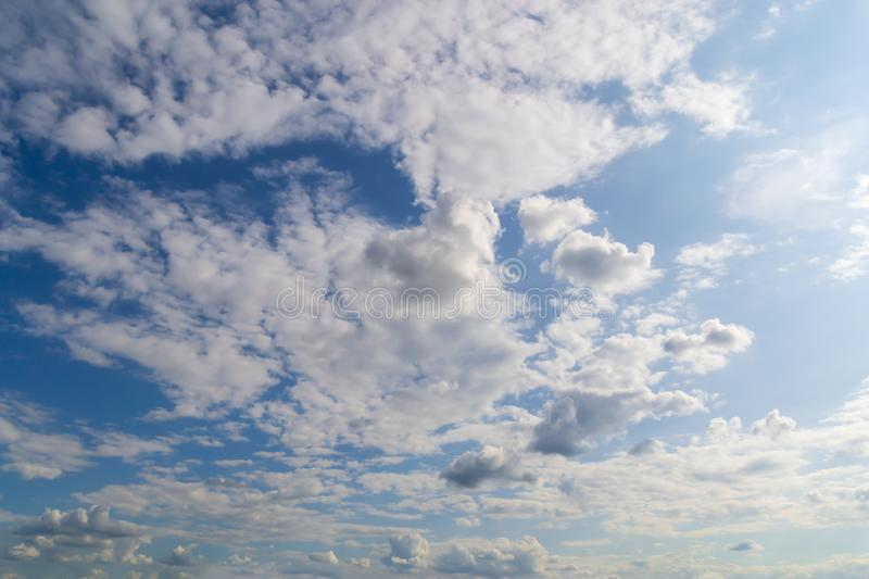 Beautiful nature abstract background view of sky with many tiny clouds stock images