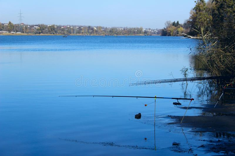 Nature, Travel, Ponds Concept. Forest And Lake. Lake And Fishing Rods. Beautiful Nature Background. Beautiful Landscape Background. Nature, Travel, Ponds royalty free stock photo