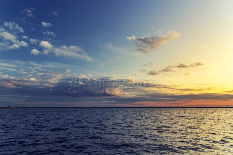 Beautiful nature background with clouds on sunset stock image