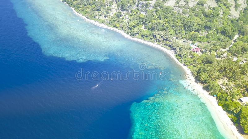 Beautiful nature of blue sea sand and Turquoise color water waves royalty free stock photography