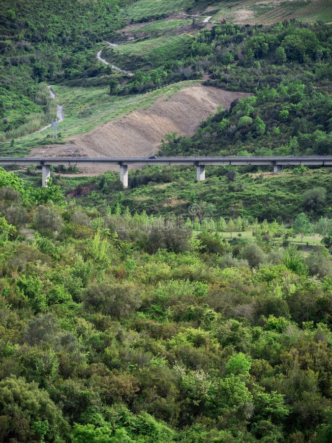 Cilento Landscape. Beautiful nature in Cilento with road royalty free stock image