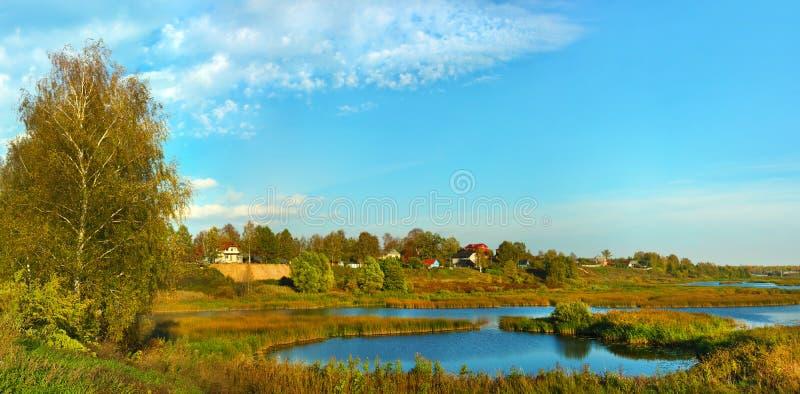 Beautiful nature, fall panoramic scenery. Beautiful nature, panoramic scenery. small River of Russia - Solonitsa, Yaroslavl area, malye soli in autumnal season royalty free stock photography