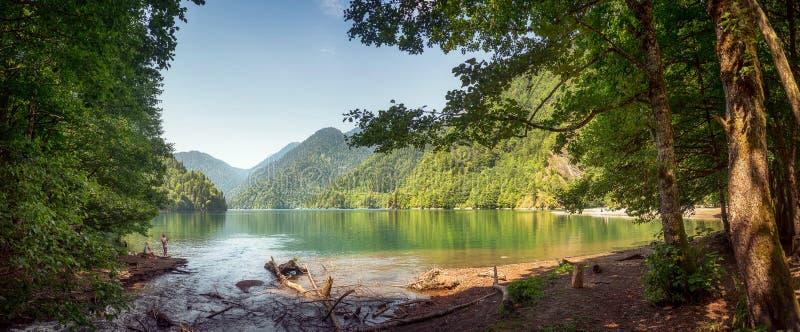 Beautiful nature landscape with mountain lake Ritsa, Abkhazia stock photography