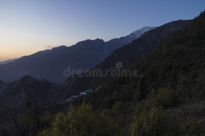 Beautiful nature and landscape photo of sunset in the Himalayas of Dharamsala India stock images