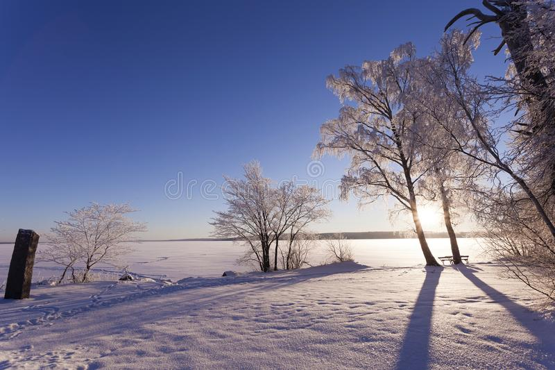 Beautiful nature and landscape photo of Sweden Scandinavia at winter. Beautiful nature and landscape photo of Sweden Scandinavia. Nice cold winter day with snow stock image