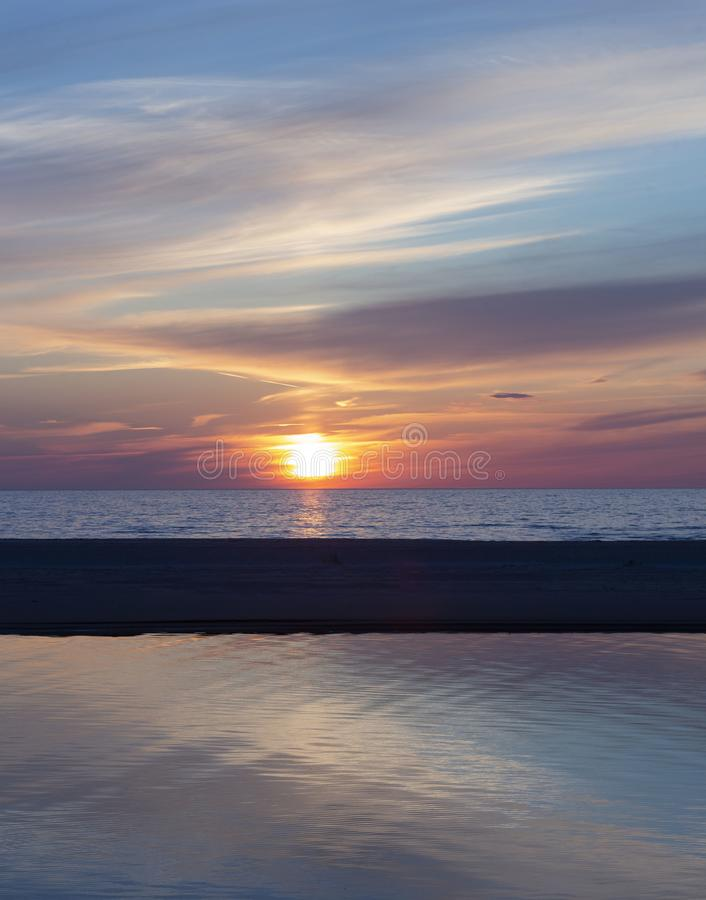 Beautiful sunset on the Baltic Sea, Latvia, beautiful places of the Baltic states. royalty free stock photography