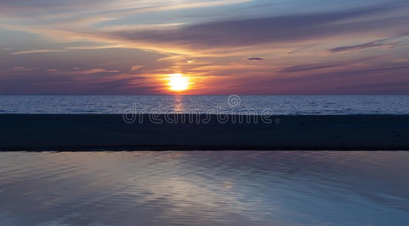 Beautiful sunset on the Baltic Sea, Latvia, beautiful places of the Baltic states. royalty free stock photo